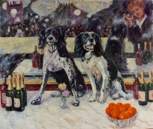Lottie and Sukie at the Folies Bergere (Dogs painted in Impressionist style)