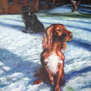 Painting of Dogs in the snow
