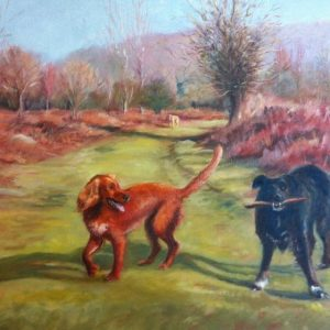 Oil painting of a Springer Spaniel and black Collie on Dartmoor